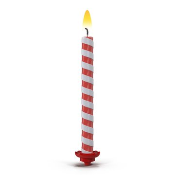 Birthday Candle with Flame on white. 3D illustration