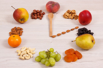 Clock made of nutritious food containing natural minerals, vitamins and dietary fiber, time for healthy nutrition concept