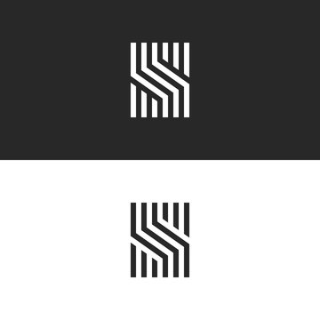 Initial S letter monogram linear pattern, black and white parallel lines creative geometric shape, simple minimal stylish identity mark