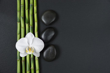 Zen stones, orchid flower and bamboo