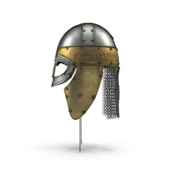 Old Viking Helmet on white. Side view. 3D illustration
