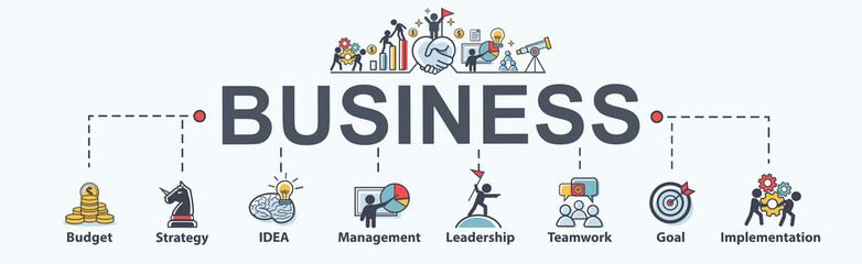 Business banner web icon for business and marketing, budget, money, Strategy, idea, goal and implementation plan. Minimal vector infographic.