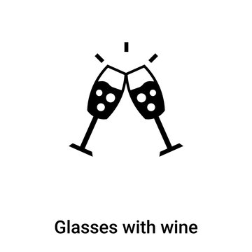 Glasses with wine icon vector isolated on white background, logo concept of Glasses with wine sign on transparent background, black filled symbol