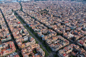 Aerial view of Barcelona architecture, high angle view of the city typical urban grid, Spain