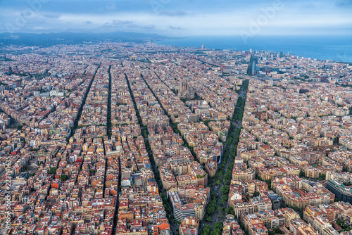 Barcelona Aerial Wide Angle View Of The City Skyline And Urban Grid