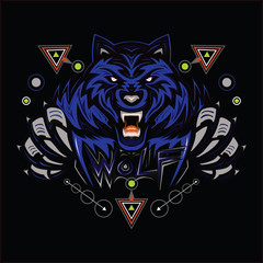 BLUE WOLF, WOLVES, HEAD WOLV