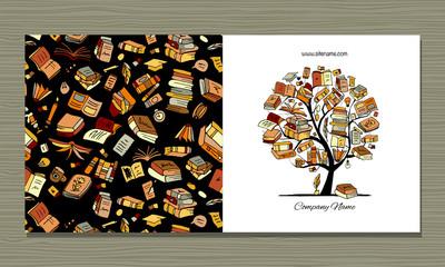 Fotobehang - Books library, greeting card design