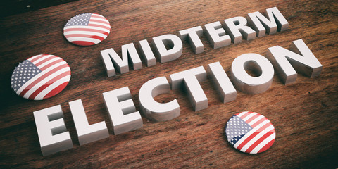 USA flag pin button, midterm elections, wooden background, 3d illustration.