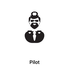 Pilot icon vector isolated on white background, logo concept of Pilot sign on transparent background, black filled symbol