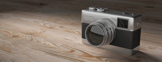 Retro camera on white wooden background, copy space, banner, 3d illustration.