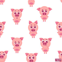 Seamless pattern of pink pigs.
