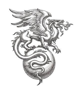 Чёрно-белая иллюстрация, рисунок тушью, крылатый дракон на шаре.