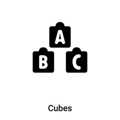 Cubes icon vector isolated on white background, logo concept of Cubes sign on transparent background, black filled symbol
