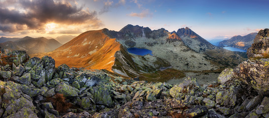 Panorama of mountain landscape at summer in Tatras at sunset in Slovakia