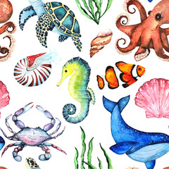 Watercolor Bright Paterrn with Many Different Sea Animals