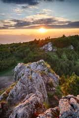 Fototapete - Mountain valley during sunrise. Natural summer landscape in Slovakia
