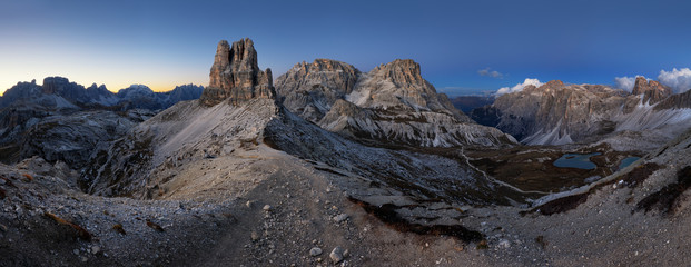 Night mountain landcape panorama range in Tre Cime di Lavaredo.Dolomites.