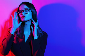 Wall Mural - Fashion woman in glasses.