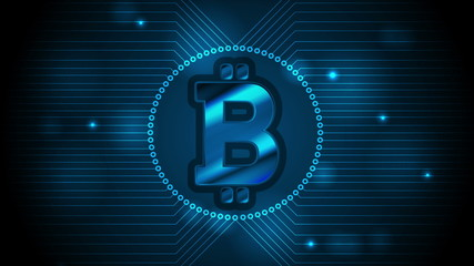 Blue technology background with bitcoin money emblem and circuit board lines. Internet virtual digital crypto currency symbol