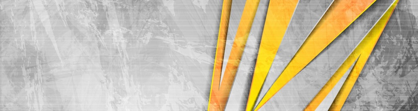 Orange grey abstract grunge corporate banner