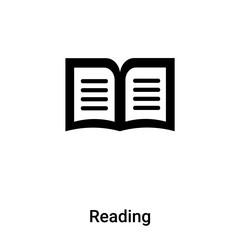 Reading icon vector isolated on white background, logo concept of Reading sign on transparent background, black filled symbol