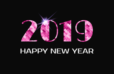 2019 Happy new year. Greeting card, pink numbers