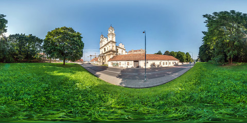 full seamless spherical panorama 360 by 180 angle view near Catholic church of the Ascension in equirectangular projection, ready AR VR virtual reality content