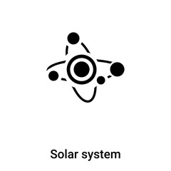 Solar system icon vector isolated on white background, logo concept of Solar system sign on transparent background, black filled symbol