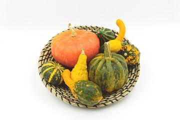 verschiedene Sorten Zierkürbisse im dekorativem Bastkörbchen