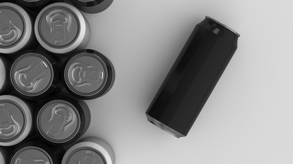 Big black and white soda cans on white background