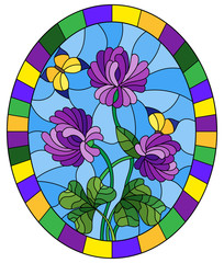Illustration in stained glass style flower of purple clover and butterflies on a blue background in a bright frame,oval  image