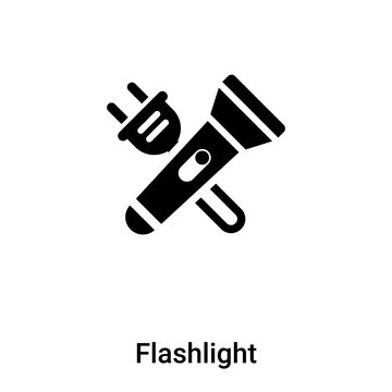 Flashlight icon vector isolated on white background, logo concept of Flashlight sign on transparent background, black filled symbol