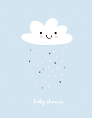 Cute Simple Baby Shower Vector Card. White Fluffy Smiling Cloud on a Light Blue Grunge Background. Rain of Irregular Shape Tiny Hearts. White Baby Shower Text.