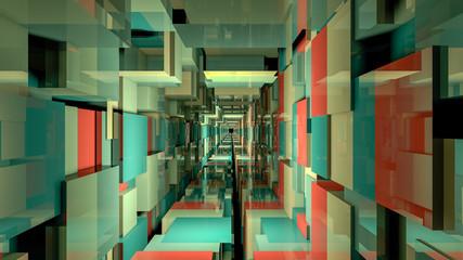 3d render abstract background. Long corridor.