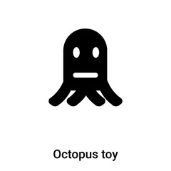 Octopus toy icon vector isolated on white background, logo concept of Octopus toy sign on transparent background, black filled symbol