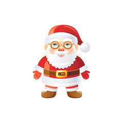 Vector illustration of 3d realistic Xmas symbol. Cute standing Santa Claus in glasses. Merry Christmas and winter holiday icon isolated on white background. Flat retro design element, cartoon logo