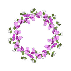 Round frame with floral elements of sweet pea flowers and leaves. Wreath for Saint Valentine Day, wedding invitations and greeting cards. Isolated