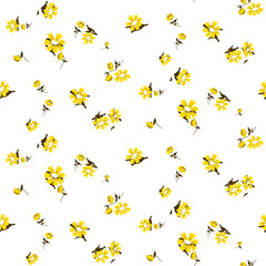 Yellow florals seamless vector pattern. Chamomile floral fabric textile print background for dresses.