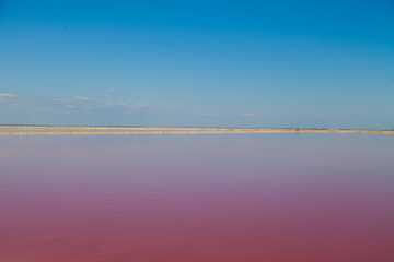 Pink Lake with blue sky landscape background