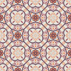 Vintage floor tiles ornament purple vector pattern print. Neutral colors geometric floral hexagonal seamless backdrop.
