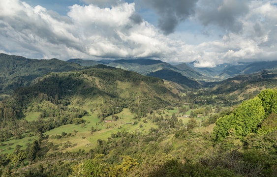The Cocora valley and the Nevados mountain range seen from Salento viewpoint