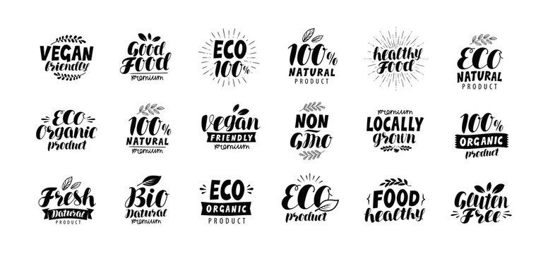 Natural, organic logo or label. Eco, healthy food set badges. Lettering vector