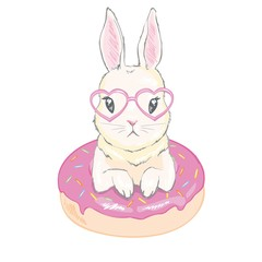 Cute little bunny with donut balloons. Vector hand drawn illustration.