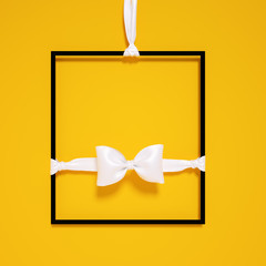 Job vacancy sign for master of ceremonies. Hanging frame and white bow tie on yellow background. 3d rendering,