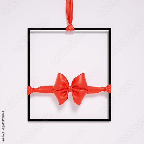 Hanging Frame And Red Ribbon Bow Holiday Banner Template Sale 3d Rendering