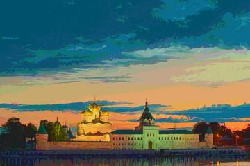 Ipatievsky Monastery in the evening in Kostroma, Russia.