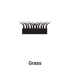 Grass icon vector isolated on white background, logo concept of Grass sign on transparent background, black filled symbol