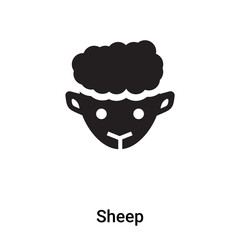 Sheep icon vector isolated on white background, logo concept of Sheep sign on transparent background, black filled symbol