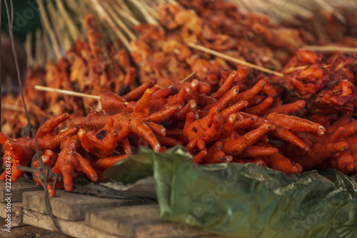Weird Food Chicken Feet For Sale On The Market Of Mawlamyine