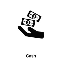 Cash icon vector isolated on white background, logo concept of Cash sign on transparent background, black filled symbol